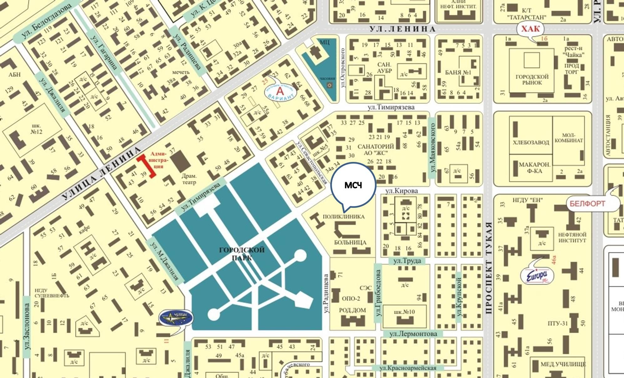 10 больница на карте